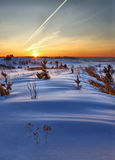Winter dawn over hills Stock Images