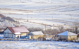 Winter day. A winter day in a small and poor village Stock Images