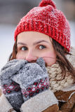 Winter day. Young girl outdoor portrait a winter day Stock Photography