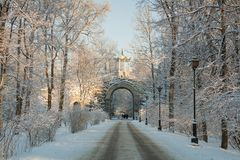 Winter day in Alexander Park. Chinese Gazebo and Gothic Gate of Alexander Park in Pushkin, Saint-Pertersburg, Russia Royalty Free Stock Image
