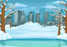 Winter day background. Frozen lake or river with snow covered leafless trees and bushes. Cityscape in the background vector illustration