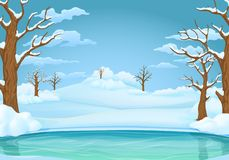 Winter day background. Frozen lake or river with snow covered leafless trees and bushes. stock illustration