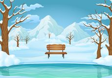 Winter day background. Frozen lake or river with snow covered wooden bench, bare trees, snowy hills and mountains. royalty free illustration