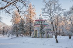 Winter day in Catherine Park. Pavilion Creaking summerhouse in the Catherine Park in winter, Tsarskoye Selo, St. Petersburg, Russia Royalty Free Stock Photo