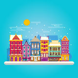 Winter day in cosy town street scene. Classic European houses la Royalty Free Stock Photo