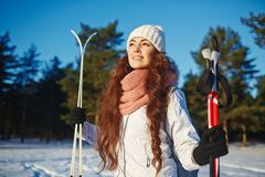 Winter day in forest Royalty Free Stock Images