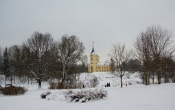 Winter day and fortress in the park Mariental in Pavlovsk. St. Petersburg Royalty Free Stock Photo