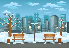 Free Winter Day In The Park, Two Benches With Trash Cans And Street Lamp On A Park Trail With Cityscape In The Background. Royalty Free Stock Images - 135125719