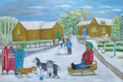on winter day with kids playing and huskies royalty free stock photography