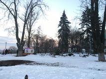 Winter day in Kiev. Winter Frosty but Sunny Stock Image