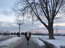 Winter day in Kiev. Winter Frosty but Sunny Stock Photo