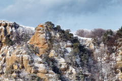 Winter day in the mountains. Winter day in Crimea mountains royalty free stock photo