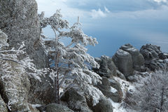 Winter day in the mountains. Winter day in Crimea mountains stock photos