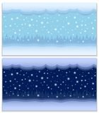 Winter day and night two vector seamless backgrounds Royalty Free Stock Images
