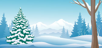 Winter day panoramic. Illustration of a winter scene Stock Images