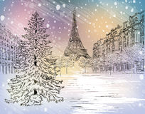 Winter day in Paris Royalty Free Stock Photo