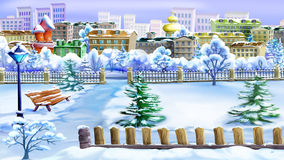 Winter Day in a Park. Handmade illustration in a classic cartoon style Royalty Free Stock Photos