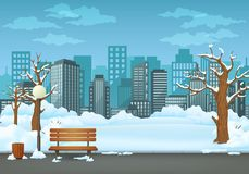 Winter day park. Snow covered wooden bench, trash bin and street lamp on an asphalt park trail with cityscape in the background vector illustration