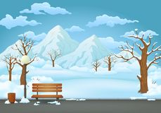 Winter day park. Snow covered wooden bench, trash bin and street lamp. Mountains in the background. royalty free illustration