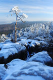 Winter day in Poland. On the top of tabla mountain Royalty Free Stock Image