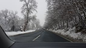 Winter day on the road. Winter day road  drawing drive cold stock photography
