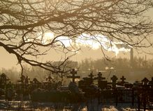 Winter day at the Russian cemetery Stock Images