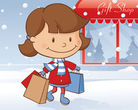 Winter Day Shopping Girl Royalty Free Stock Photo