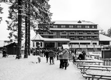 Winter day with snow with people walking toward Mummelsee lake Royalty Free Stock Image