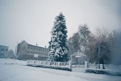 Winter day in a snowfall in the town. royalty free stock image