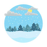 Winter day. Sunny day. round icon style flat. which depicts falling snow, drifts, clouds, sun and a lot of christmas trees Stock Photos