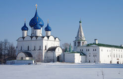 Winter day in Suzdal, Russia. Kremlin and Cathedral of the Nativ Royalty Free Stock Image