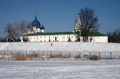 Winter day in Suzdal, Russia. Kremlin and Cathedral of the Nativ Stock Photos