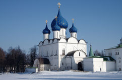 Winter day in Suzdal, Russia. Kremlin and Cathedral of the Nativ Stock Images
