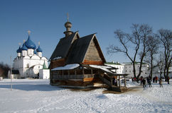 Winter day in Suzdal, Russia. Saint Nicholas church Royalty Free Stock Image