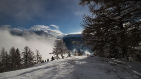 A winter day in the swiss alps Stock Photo