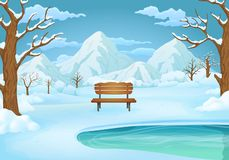 Winter day illustration. Snow covered wooden bench by the frozen lake with mountains in the background. royalty free illustration