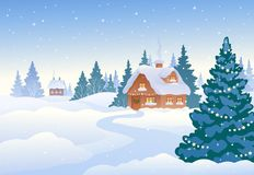 Winter day village. Vector illustration of a beautiful winter village with snow covered houses stock illustration