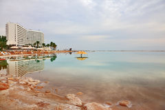 Winter in the Dead Sea. The high-rise hotel Stock Images