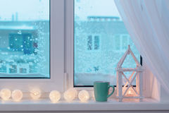 Winter decor with candles Stock Image