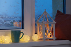 Winter decor with candles Royalty Free Stock Photography