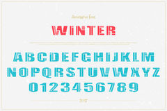 Winter decor. Winter style alphabet letters and numbers over grunge paper texture.  font type. festive, bold lettering icons. Christmas, ornamental typesetting Royalty Free Stock Photo