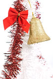 Winter decoration. Chritmas decoration with tinsel and ribbon on white background Stock Photography