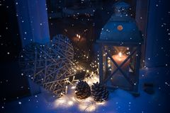 Winter decoration in blue light with snowflakes Royalty Free Stock Image