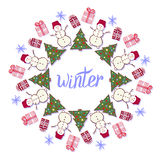 Winter decoration. Cute snowman in New year party banner Royalty Free Stock Images