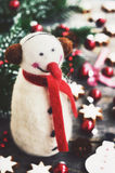 Winter decoration with felted snowman, christmas toys and cookies Stock Photos