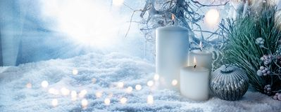 Free Winter Decoration In Snow With Golden Bokeh Stock Photography - 128834212