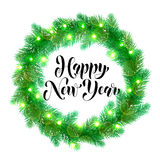 Winter decoration New Year ornament Christmas lights design element. Decorative wreath of Christmas lights garland decoration. Christmas tree wreath of of pine vector illustration
