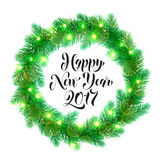 Winter decoration New Year ornament Christmas lights design element. Decorative wreath of 2017 Happy New Year text. Christmas lights garland decoration Stock Image