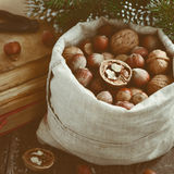 Winter decoration with nuts, xmas tree branch, pile of vintage b Royalty Free Stock Image