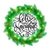 Winter decoration ornament spanish Christmas lights Feliz Navidad. Decorative wreath of Christmas lights garland decoration. Spanish Christmas Feliz Navidad tree Royalty Free Stock Image
